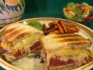 Toasted Corned 'Beef' Sandwich with Swiss & sauerkraut