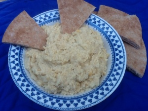 Hummus and pita triangles