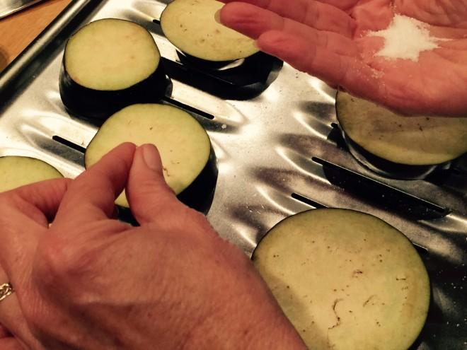 eggplant salt sprinkle