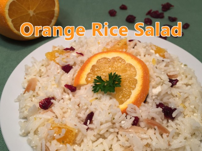 orange rice salad text