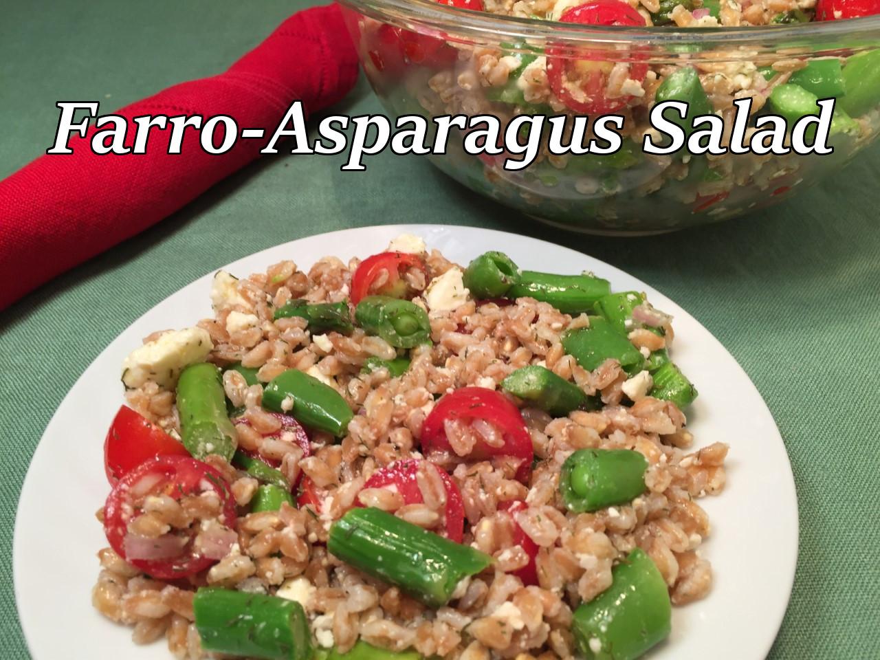 farro asparagus salad text