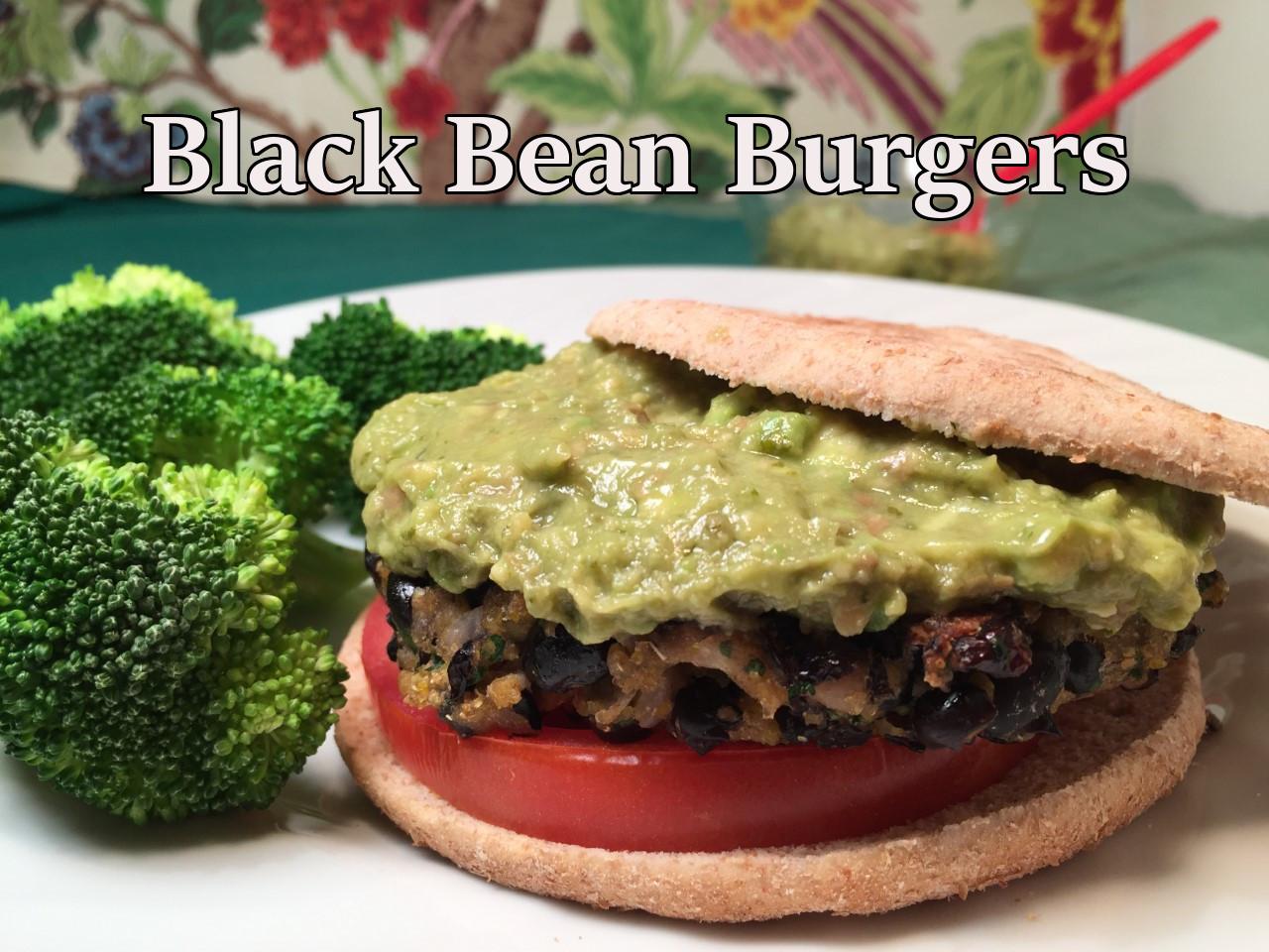 black bean burgers text