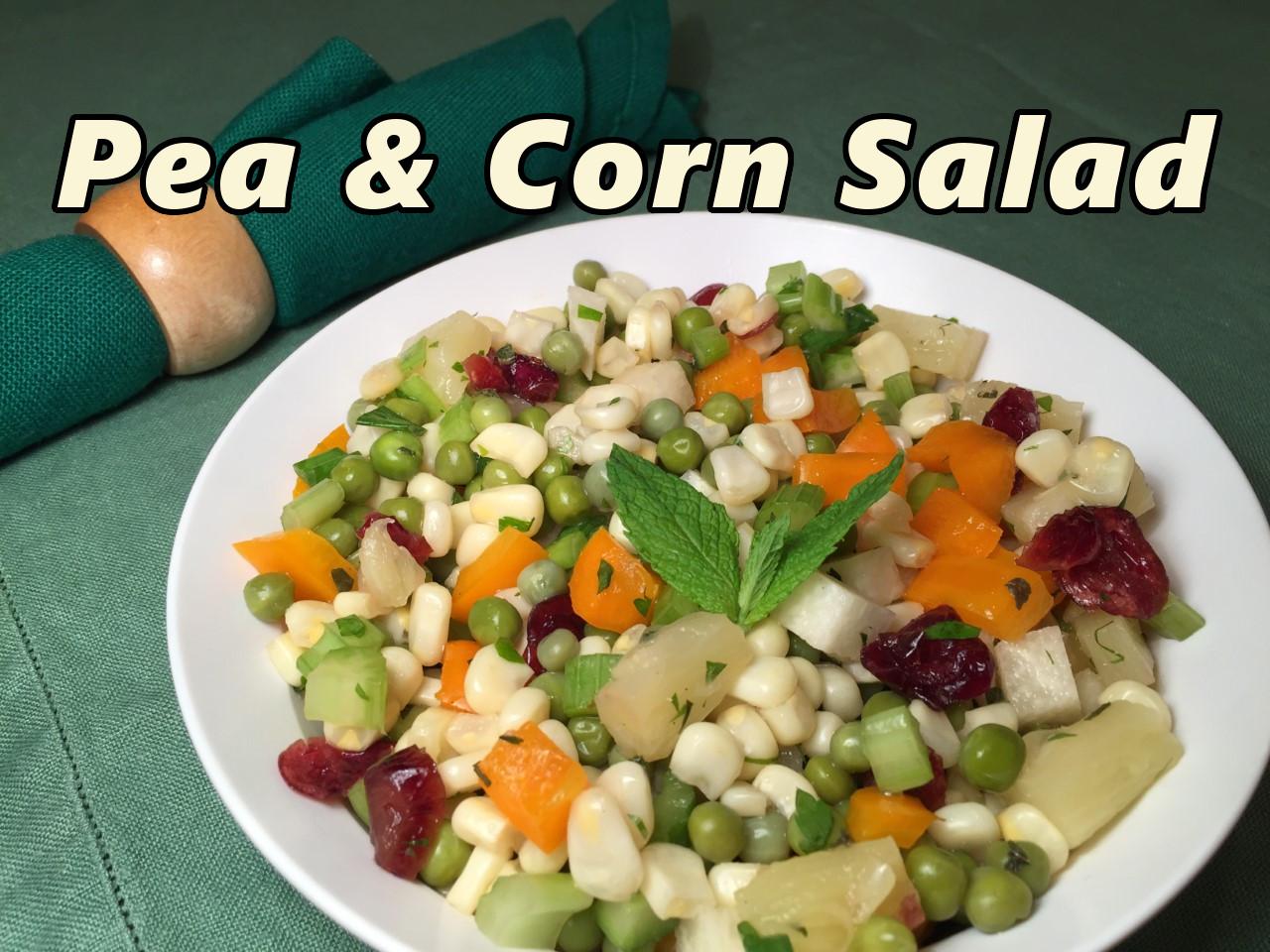 pea & corn salad text