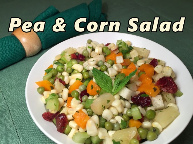 pea & corn salad text