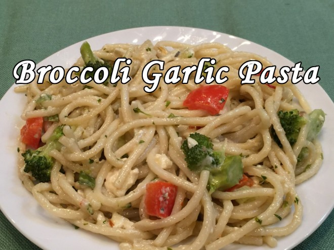 broccoli garlic pasta9 text